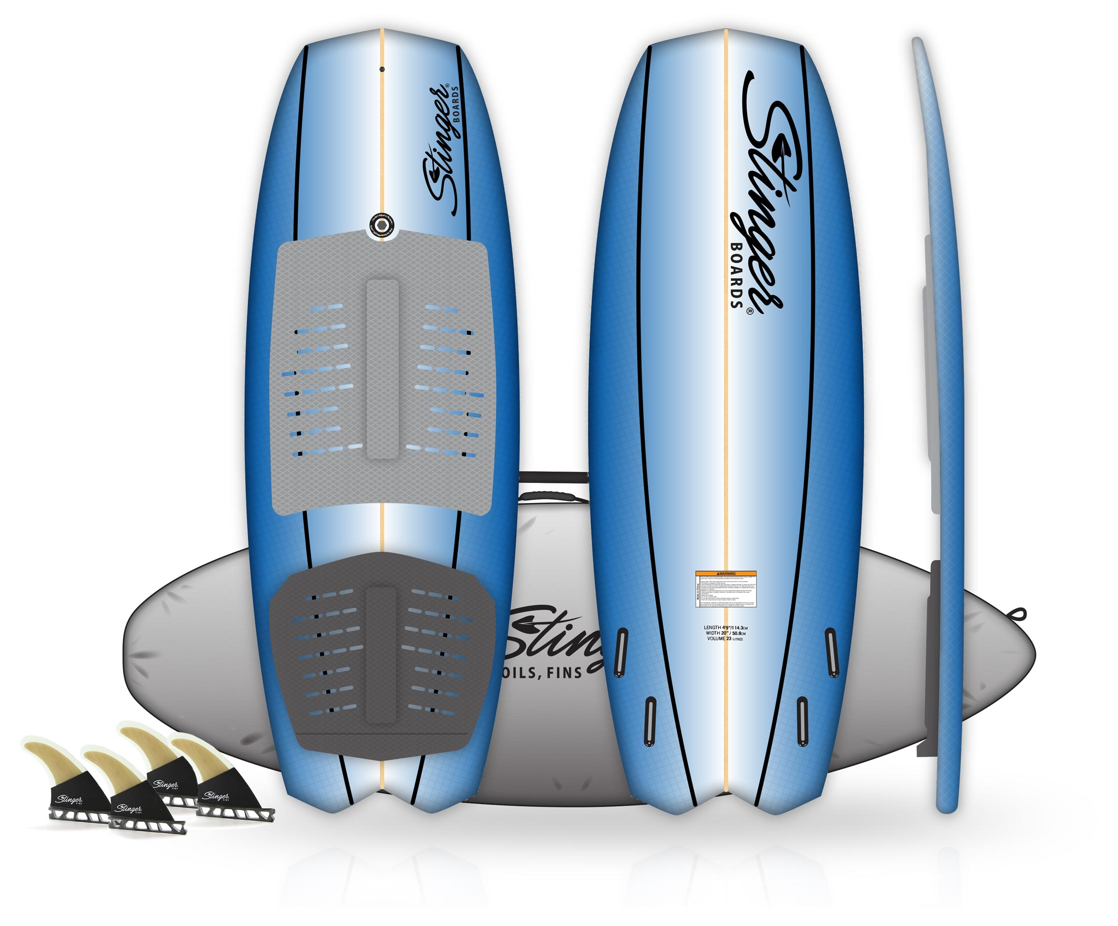 "Stinger Wake Surf PowerTail Quad 4'9"" Package"
